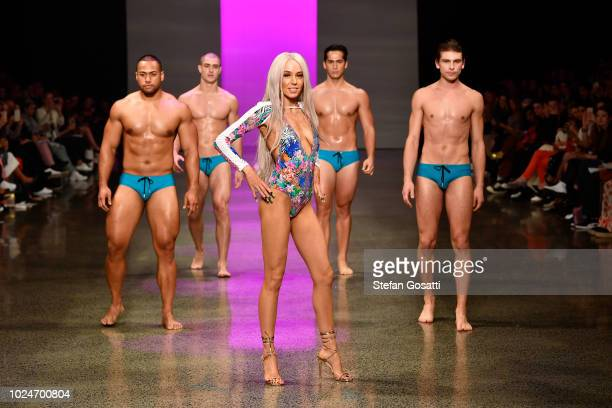 Model Imogen Anthony walks the runway in a design by Heaven Swimwear during the Swim and Activewear Collective show during New Zealand Fashion Week...
