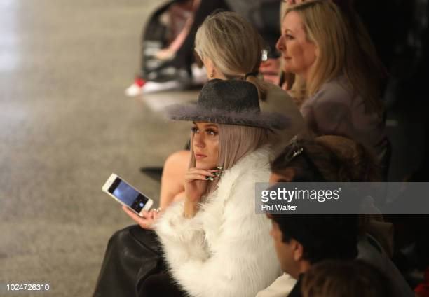 Model Imogen Anthony watches on during the New Generation Emerging Couture show during New Zealand Fashion Week 2018 at Viaduct Events Centre on...