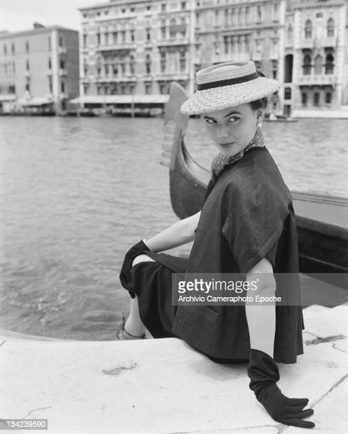 A model in a Christian Dior outfit Venice 3rd June 1951