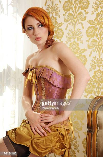 model in a corset - seamed stockings stock photos and pictures