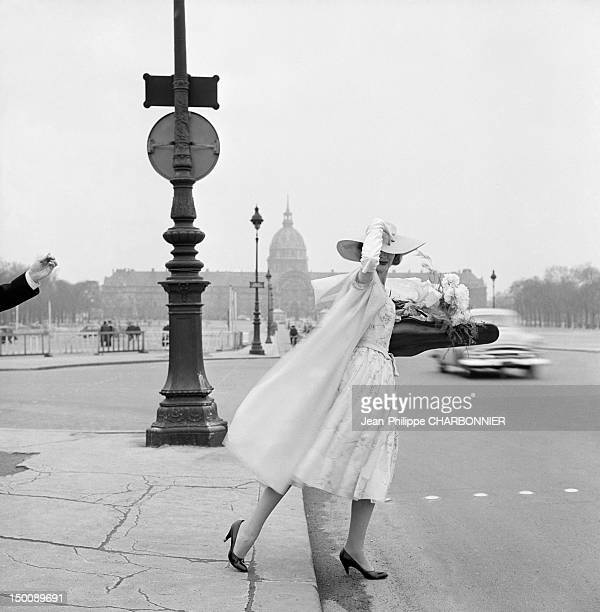 Model in front of the Invalides, 1960 in Paris, France.