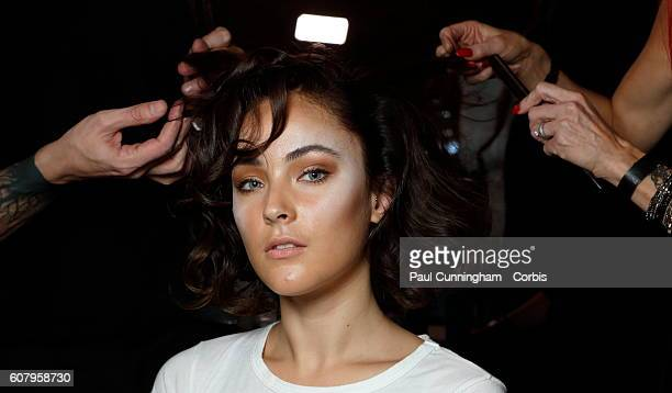 Model in hair and make up backstage ahead of the Kristian Aadnevik show during London Fashion Week Spring/Summer collections 2016/2017 on September...