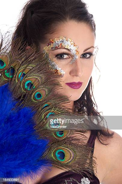 Model in metallic makeup with fan