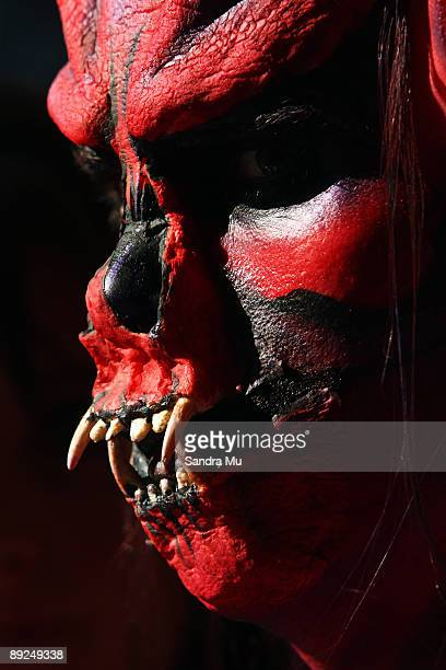 A model in the air brush section is seen backstage during the New Zealand Body Art Awards at the Bruce Mason Centre on July 25 2009 in Auckland New...