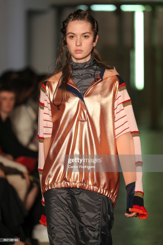 Model in the catwalk during Ricardo Andrez Runway show in the Lisboa Fashion Week ModaLisboa day 2 at on March 11, 2017 in Lisbon, Portugal.