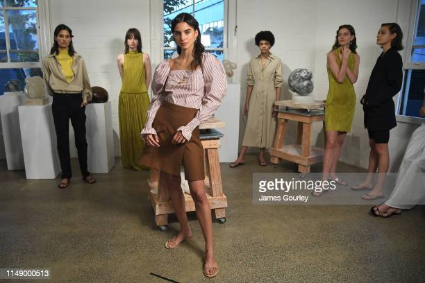 A model in the presentation space during the ANNA QUAN show at MercedesBenz Fashion Week Resort 20 Collections at Carol Crawford Studio on May 14...