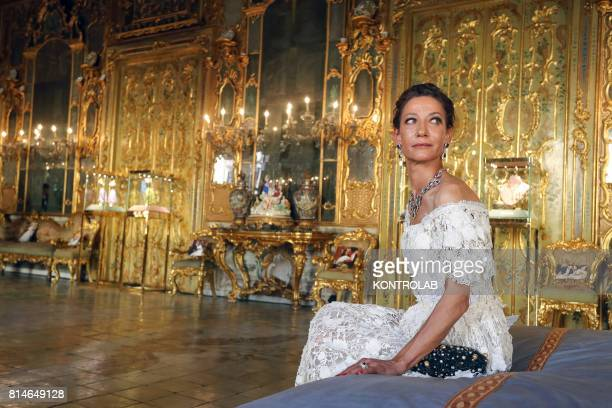 Model in the rooms of Palazzo Gangi where the jewels of Dolce and Gabbana are exposed.