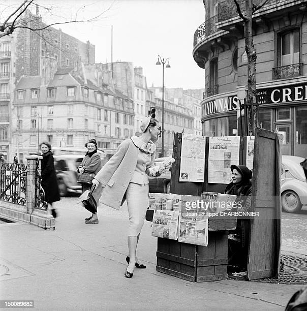 Model in the streets of Paris 1960 in Paris