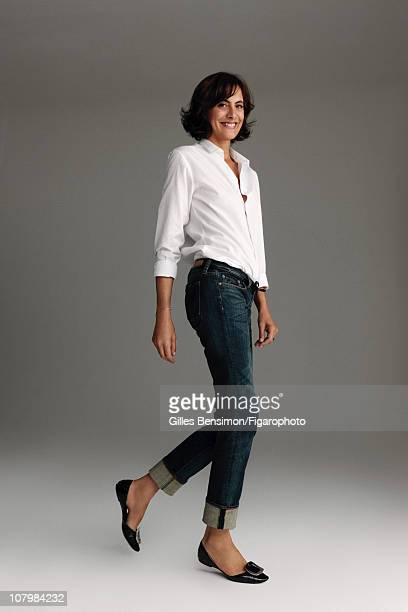 Model Ines de la Fressange is photographed for Madame Figaro on September 7 2010 in Paris France Published image Figaro ID 098066003 Shirt by Dior...