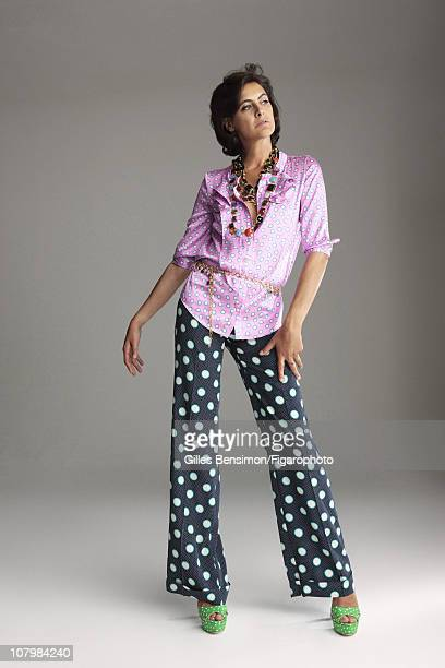 Model Ines de la Fressange is photographed for Madame Figaro on September 7 2010 in Paris France Published image Figaro ID 098066016 Blouse pants and...