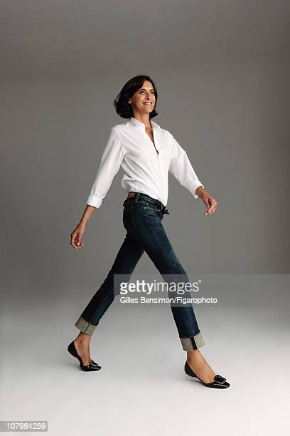 Model Ines de la Fressange is photographed for Madame Figaro on September 7 2010 in Paris France Figaro ID 098066022 Shirt by Dior jeans by Uniqlo...