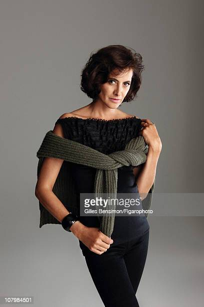 Model Ines de la Fressange is photographed for Madame Figaro on September 7 2010 in Paris France Published image Figaro ID 098066006 Top and pants by...