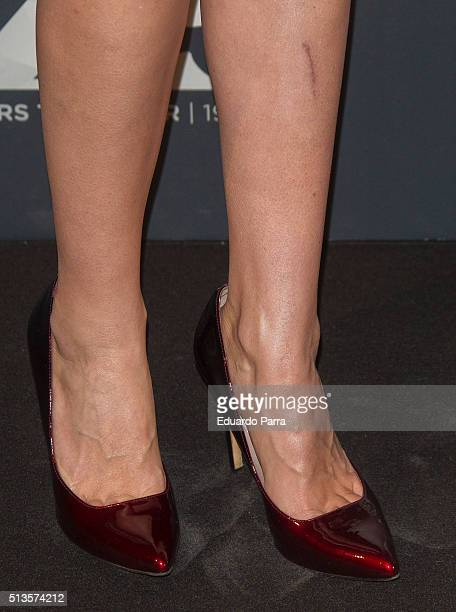 Model Ines Sainz shoes detail attends Gioseppo 25th anniversary party photocall at Callao cinema on March 3 2016 in Madrid Spain