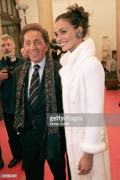 Model Ines Sastre and designer Valentino are seen backstage at the Valentino fashion show as part of Paris Fashion Week Spring/Summer 2005 on January...