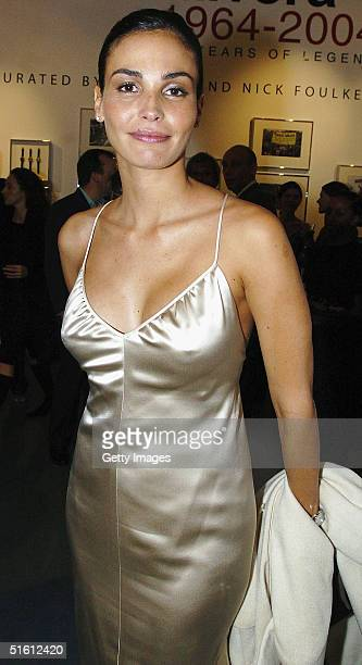 Model Ines Sastre attends the private view for Carrera 1964 2004 40 Years Of Legend at the Getty Images Gallery on October 28 2004 in London...