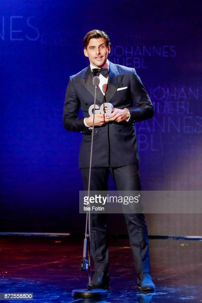 Model influencer and award winner Johannes Heubl live on stage at the GQ Men of the year Award 2017 show at Komische Oper on November 9 2017 in...