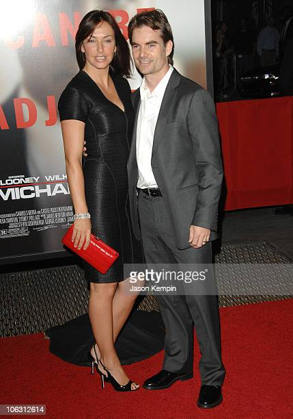 Model Ingrid Vandebosch and Nascar driver Jeff Gordon arrive at the premiere of Michael Clayton at the Ziegfeld Theater on September 24 2007 in New...