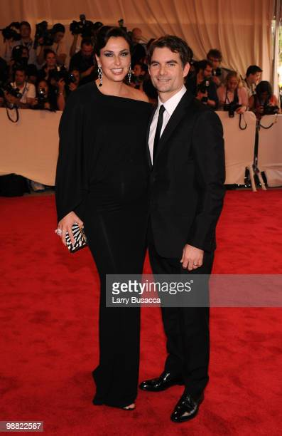 Model Ingrid Vandebosch and NASCAR driver Jeff Gordon attend the Costume Institute Gala Benefit to celebrate the opening of the American Woman...