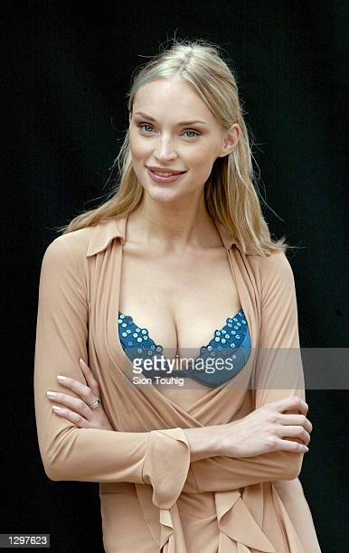 Model Inna Zobova poses for photographs as she is announced as the new model for Wonderbra lingerie August 7 2002 in Leicester Square in London Inna...