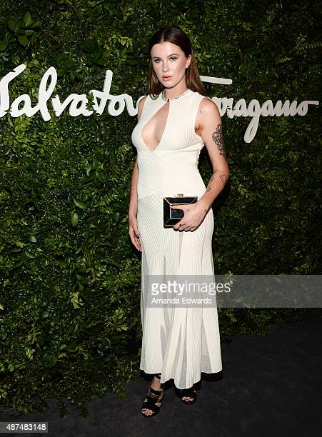 Model Ireland Baldwin arrives at the Salvatore Ferragamo 100 Years In Hollywood celebration at the newly unveiled Rodeo Drive flagship Salvatore...