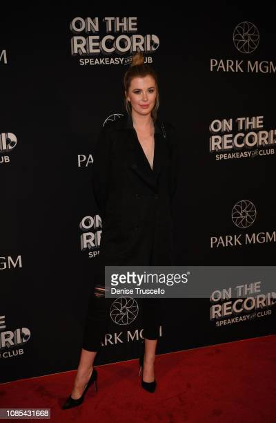 Model Ireland Baldwin attend the grand opening celebration of On The Record Speakeasy and Club at Park MGM on January 19 2019 in Las Vegas Nevada