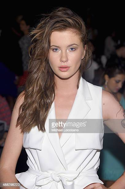 Model Ireland Baldwin attends Badgley Mischka Spring 2016 during New York Fashion Week The Shows at The Arc Skylight at Moynihan Station on September...