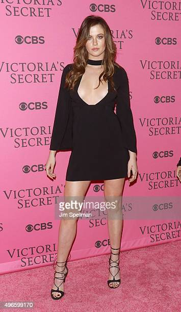 Model Ireland Baldwin attends the 2015 Victoria's Secret Fashion Show pink carpet arrivals at Lexington Armory on November 10 2015 in New York City