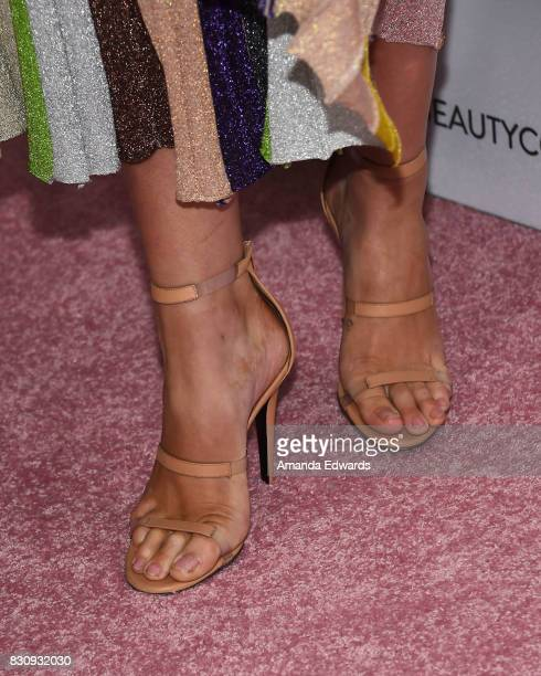 Model Ireland Baldwin shoe detail attends the 5th Annual Beautycon Festival Los Angeles at the Los Angeles Convention Center on August 12 2017 in Los...