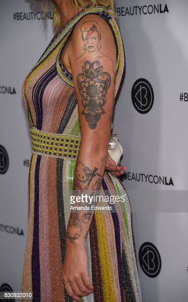 Model Ireland Baldwin tattoo detail attends the 5th Annual Beautycon Festival Los Angeles at the Los Angeles Convention Center on August 12 2017 in...