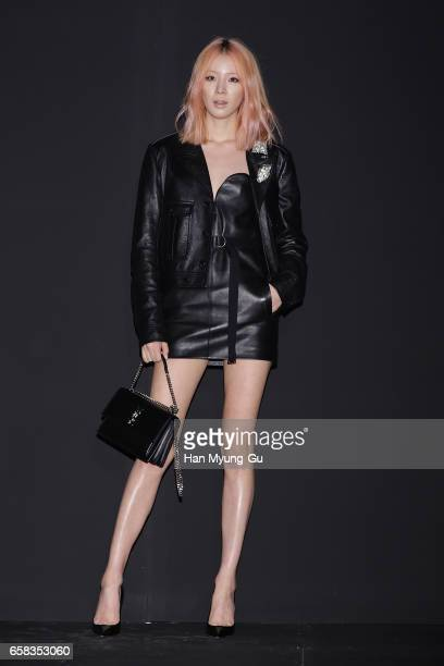 Model Irene Kim attends the photocall for 'Saint Laurent' by Anthony Vaccarello Collection Launch Party at BoonTheShop on March 27 2017 in Seoul...