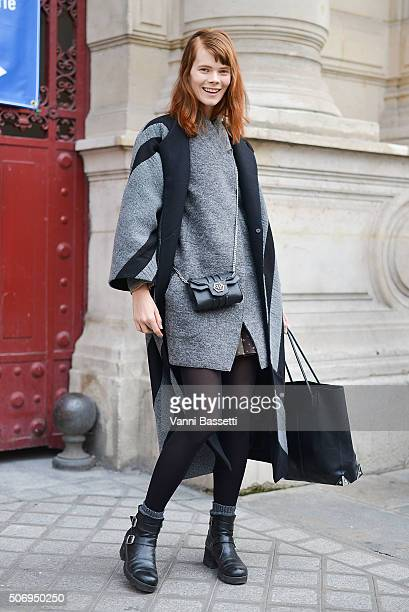 Model Irina Kravchenko poses after the Bouchra Jarrar show during Haute Couture on January 26 2016 in Paris France