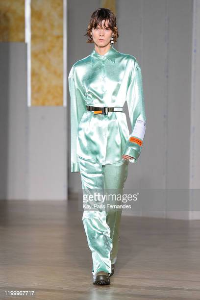 Model Irina Kravchenko walks the runway during the Heron Preston Menswear Fall/Winter 2020-2021 show as part of Paris Fashion Week At le Carreau Du...