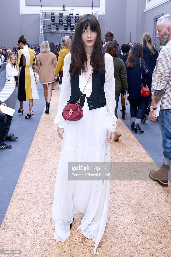 Model Irina Lazareanu attends the Chloe show as part of the Paris Fashion Week Womenswear Spring/Summer 2016. Held at Grand Palais on October 1, 2015 in Paris, France.