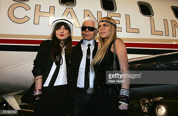 Model Irina Lazareanu Designer Karl Lagerfeld and actress Lindsay Lohan attend the 2007/8 Chanel Cruise Show Presented By Karl Lagerfeld held at...
