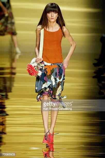 Model Irina Lazareanu walks down the catwalk during the Sportmax Fashion Show as part of Milan Fashion Week Spring/Summer 2007 on September 29, 2006...