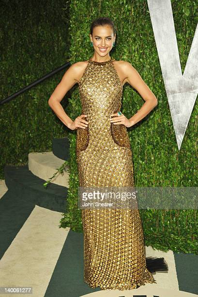 Model Irina Shayk arrives at the 2012 Vanity Fair Oscar Party hosted by Graydon Carter at Sunset Tower on February 26 2012 in West Hollywood...