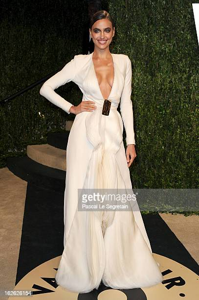 Model Irina Shayk arrives at the 2013 Vanity Fair Oscar Party hosted by Graydon Carter at Sunset Tower on February 24 2013 in West Hollywood...