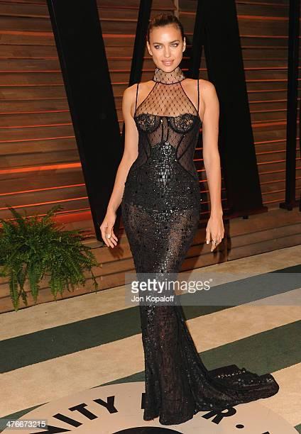 Model Irina Shayk arrives at the 2014 Vanity Fair Oscar Party Hosted By Graydon Carter on March 3 2014 in West Hollywood California