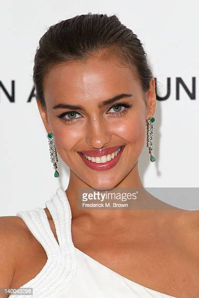 Model Irina Shayk arrives at the 20th Annual Elton John AIDS Foundation's Oscar Viewing Party held at West Hollywood Park on February 26 2012 in West...