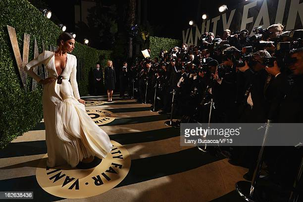 Model Irina Shayk arrives for the 2013 Vanity Fair Oscar Party hosted by Graydon Carter at Sunset Tower on February 24 2013 in West Hollywood...