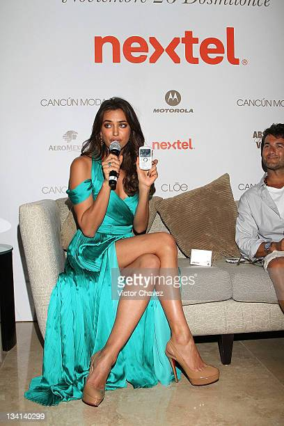 Model Irina Shayk attends a press conference and photocall during Cancun Moda Nextel 2011 at the Le Blanc Spa Resort on November 26 2011 in Cancun...