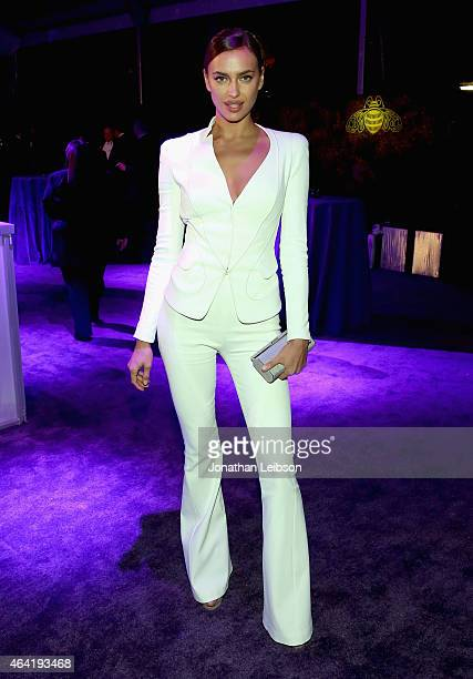 Model Irina Shayk attends ROCA PATRON TEQUILA at the 23rd Annual Elton John AIDS Foundation Academy Awards Viewing Party on February 22 2015 in Los...