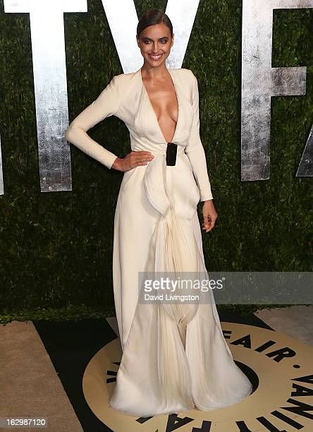 Model Irina Shayk attends the 2013 Vanity Fair Oscar Party at the Sunset Tower Hotel on February 24 2013 in West Hollywood California