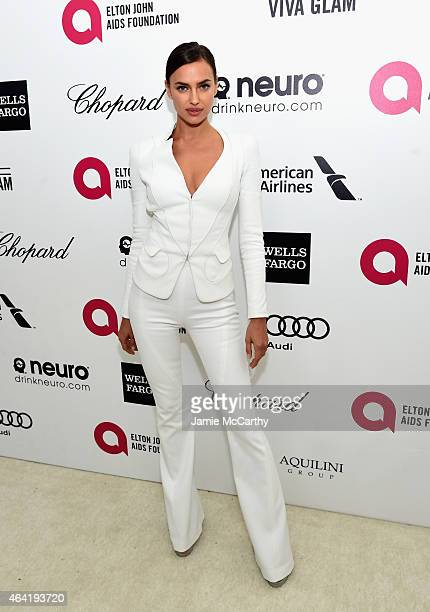 Model Irina Shayk attends the 23rd Annual Elton John AIDS Foundation Academy Awards Viewing Party on February 22 2015 in Los Angeles California
