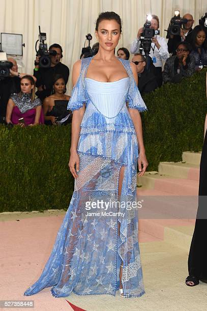 """Model Irina Shayk attends the """"Manus x Machina: Fashion In An Age Of Technology"""" Costume Institute Gala at Metropolitan Museum of Art on May 2, 2016..."""