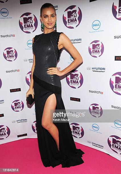 Model Irina Shayk attends the MTV Europe Music Awards 2011 at the Odyssey Arena on November 6 2011 in Belfast Northern Ireland