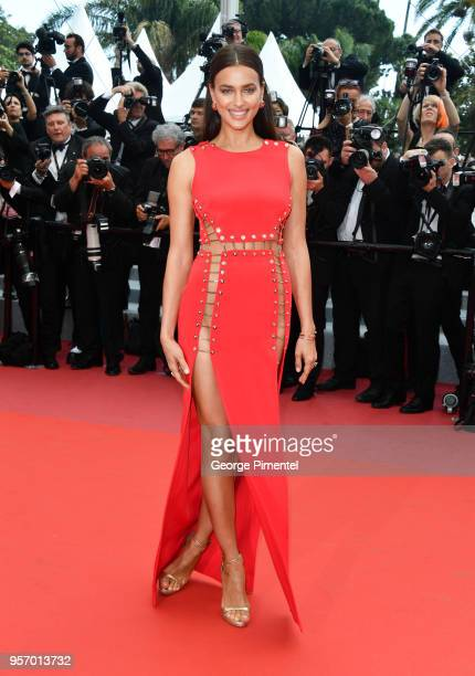 "Model Irina Shayk attends the screening of ""Sorry Angel "" during the 71st annual Cannes Film Festival at Palais des Festivals on May 10, 2018 in..."