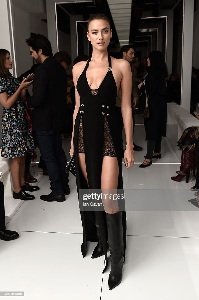 Model Irina Shayk attends the Versus show during London Fashion Week SS16 on September 19, 2015 in London, England.