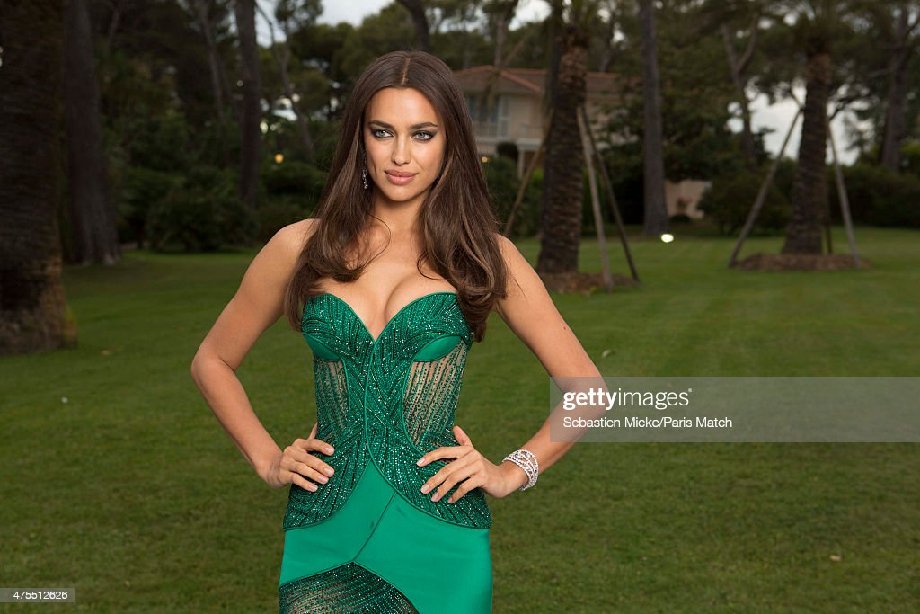 Model Irina Shayk in a Versace dress and Harry Winston jewelry attends the 22nd Gala for AmFar Cinema Against AIDS. Photographed for Paris Match at the Cap-Eden-Roc hotel on May 21, 2015 in Cap d'Antibes, France.