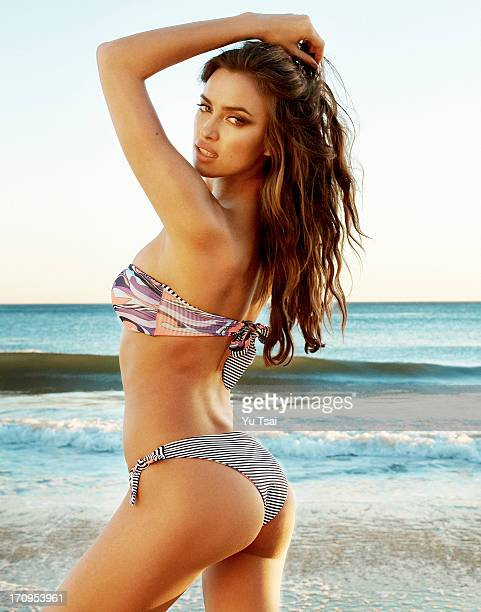 Model Irina Shayk is photographed for the Beach Bunny look book on October 27 2012 in Los Angeles California PUBLISHED IMAGE